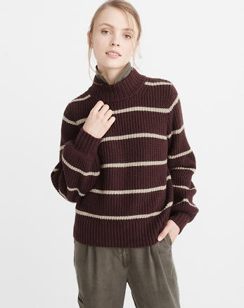 ANF Puff Sleeve Mock Neck Sweater
