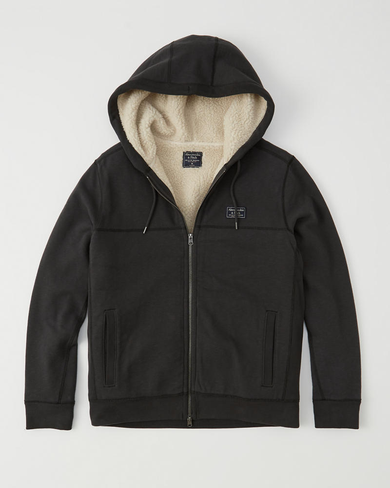 Mens Sherpa-Lined Hoodie | Mens Clearance
