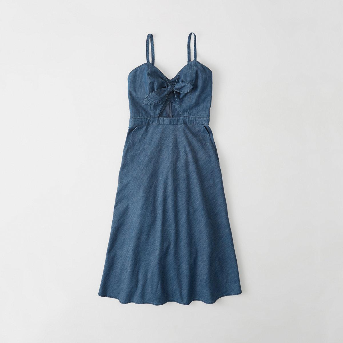 Knot-Front Denim Dress