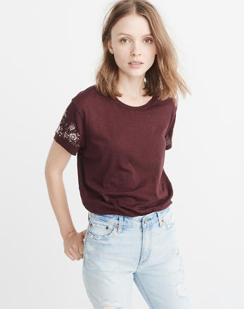 ANF Embroidered Boyfriend Tee