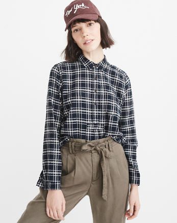 ANF Plaid Flannel Popover Shirt