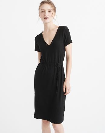 ANF Ribbed V-Neck Midi Dress