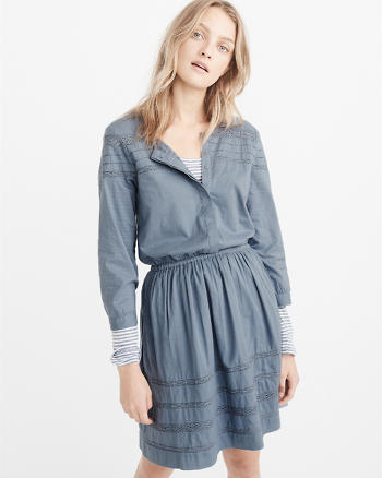 ANF Lace Trim Shirtdress