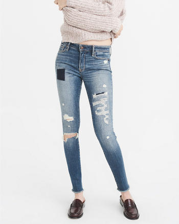 ANF Rip & Repair Low-Rise Super Skinny Jeans
