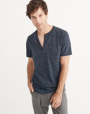ANF Striped Pocket Henley