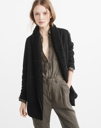 ANF Sherpa-Lined Cardigan