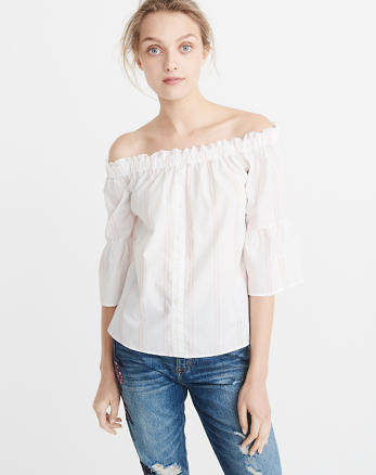 ANF Poplin Off-The-Shoulder Top