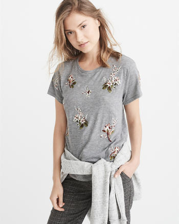 ANF Floral Embroidery Tee