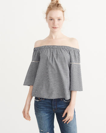 ANF Off-The-Shoulder Oxford Top