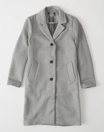 ANF Long Wool-Blend Coat