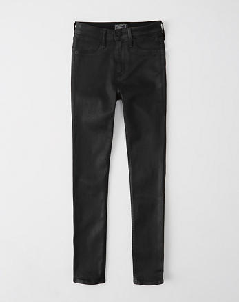 ANF Coated Denim High-Rise Ankle Jeans