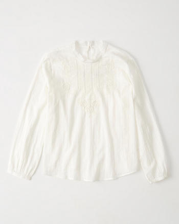 ANF Lace Mock Neck Top