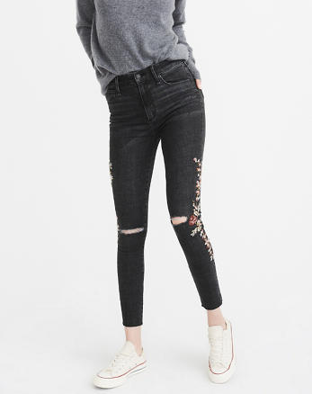 ANF Embroidered High-Rise Ankle Jeans