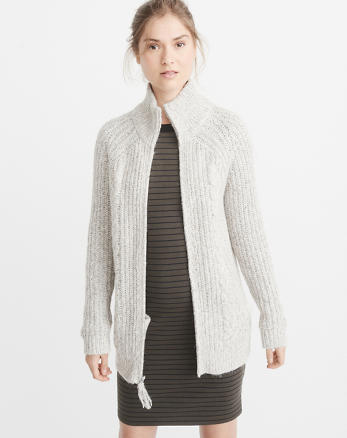 ANF Zip-Up Cable Cardigan