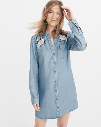 ANF Embroidered Chambray Shirtdress