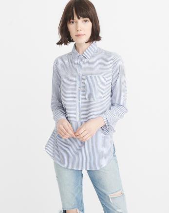 ANF Poplin Popover Shirt