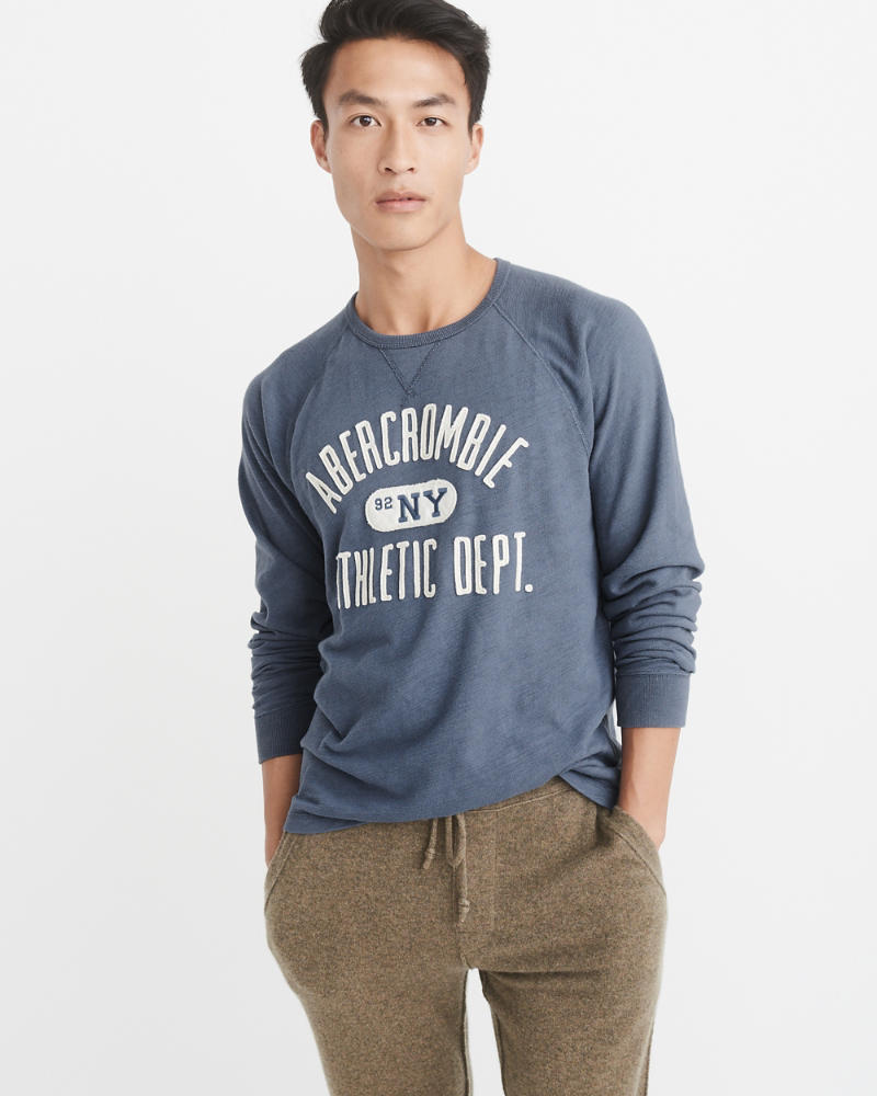 Long Sleeve Logo Crew by Abercrombie & Fitch