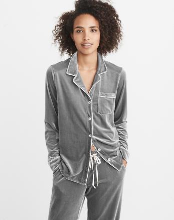 ANF Velvet Menswear Pajama Shirt
