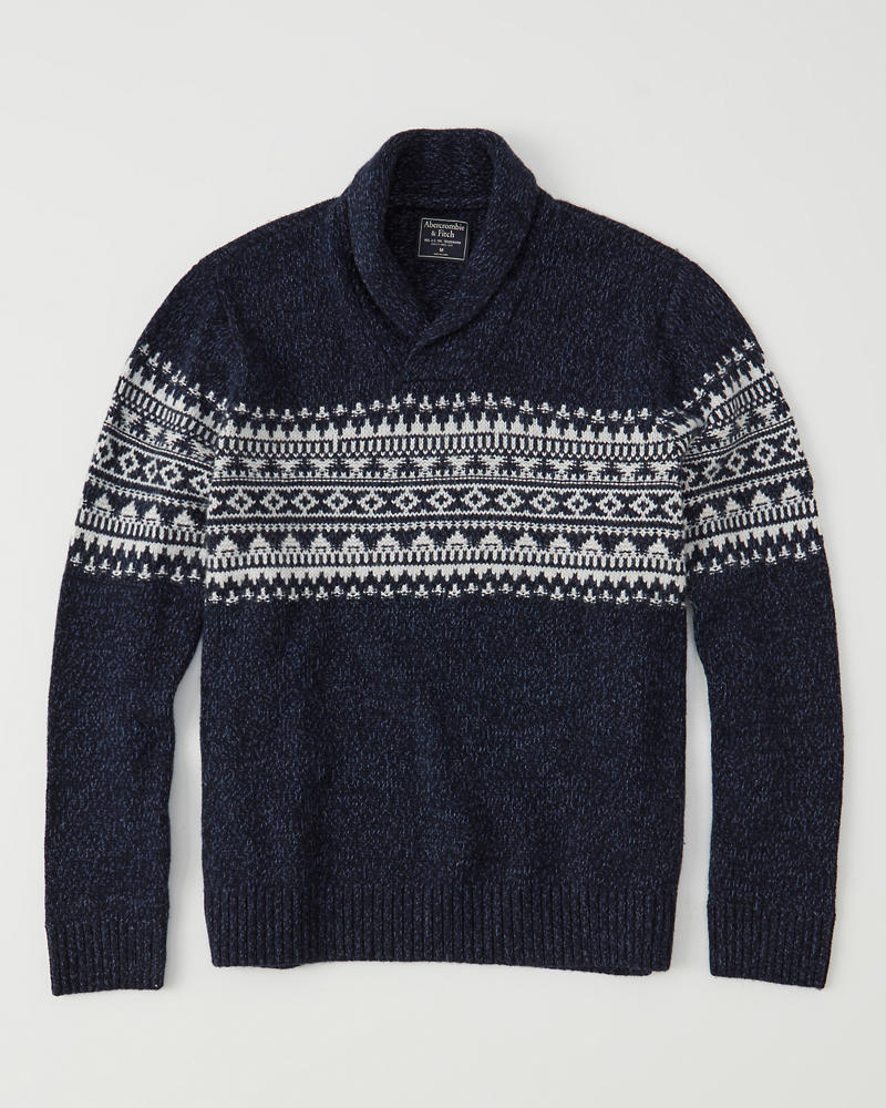 Mens Fair Isle Shawl Collar Sweater | Mens Tops | Abercrombie.com