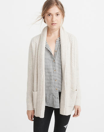 ANF Airspun Cable Shawl-Collar Cardigan