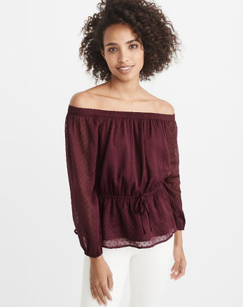 ANF Off-The-Shoulder Chiffon Top