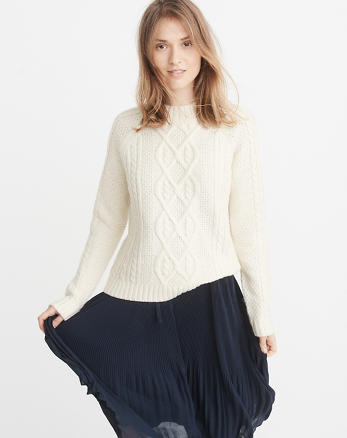 ANF Airspun Mock Neck Cable Sweater
