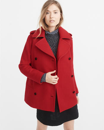 ANF Wool-Blend Peacoat
