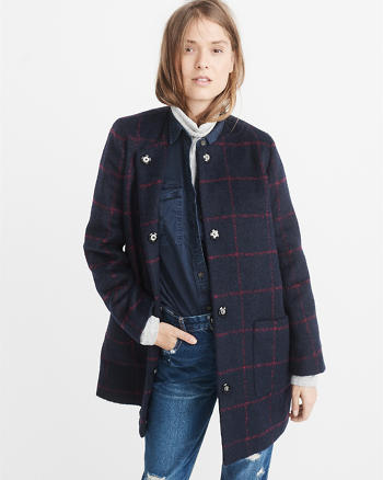ANF Collarless Wool-Blend Coat