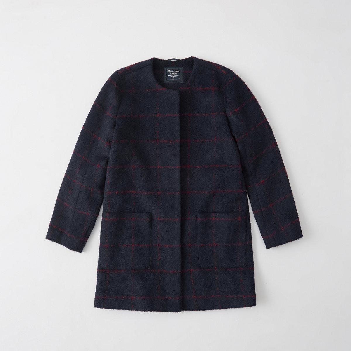 Collarless Wool-Blend Coat
