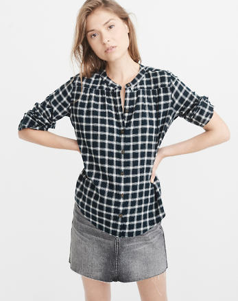 ANF Banded Collar Flannel Shirt