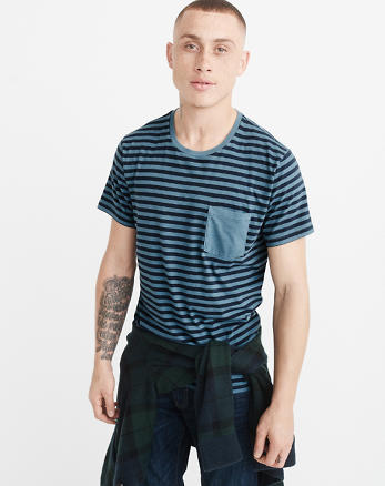 ANF Garment Dye Striped Pocket Tee