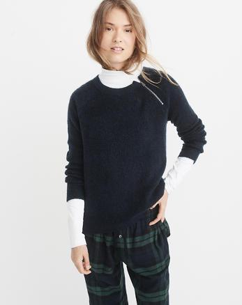 ANF Pullover Zipper Crew Sweater