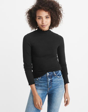 ANF Ribbed Mock Neck Top