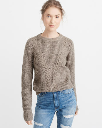 ANF Airspun Cable Crewneck Sweater