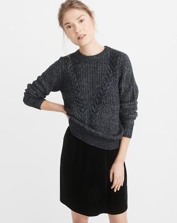 ANF Airspun Cable Crewneck Sweater