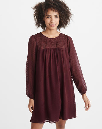 ANF Embroidered Clipped Chiffon Dress