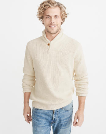 ANF Garment Dye Shawl Collar Sweater