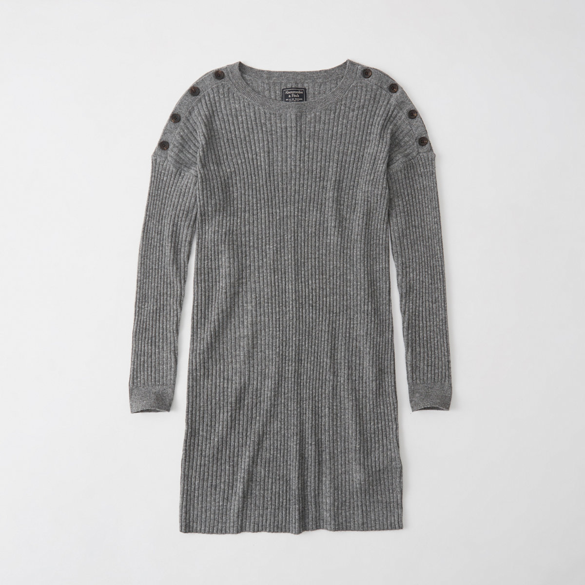 Button Shoulder Sweater Dress