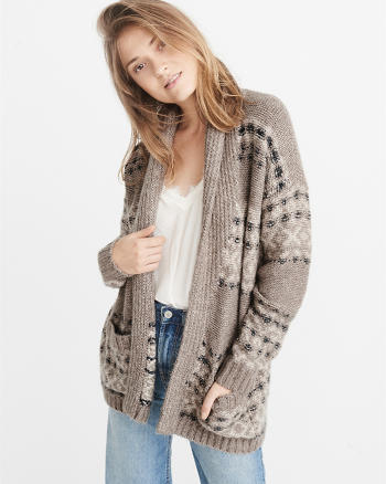 ANF Airspun Patterned Shawl-Collar Cardigan