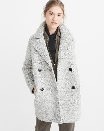 ANF Nubby Wool-Blend Peacoat
