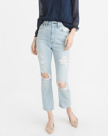 ANF High-Rise Ankle Straight Jeans