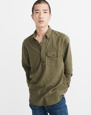 ANF Herringbone Popover Shirt