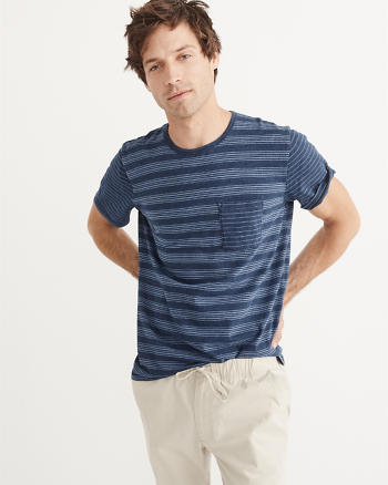 ANF Striped Indigo Crew