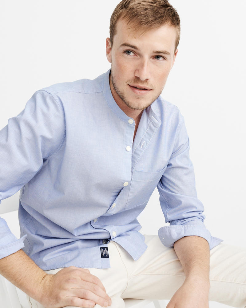 Mens Banded Collar Poplin Shirt Mens Clearance Abercrombie