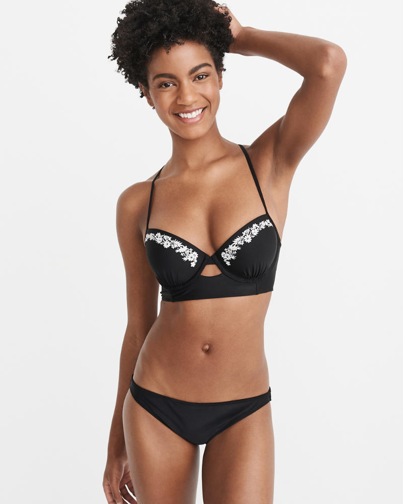 Embroidered Push Up Plunge Bikini Top by Abercrombie & Fitch