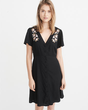 ANF Embroidered Button-Up Mini Dress