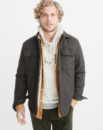 ANF Wool-Blend Sherpa-Lined Shirt Jacket