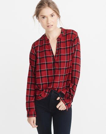 ANF Plaid Popover Shirt