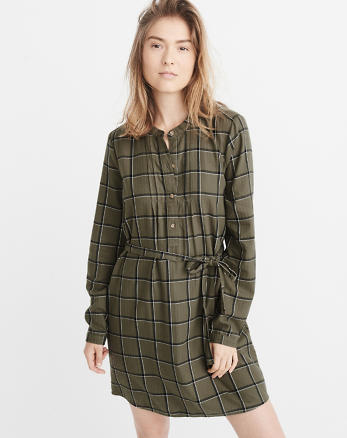 ANF Banded Collar Flannel Shirtdress