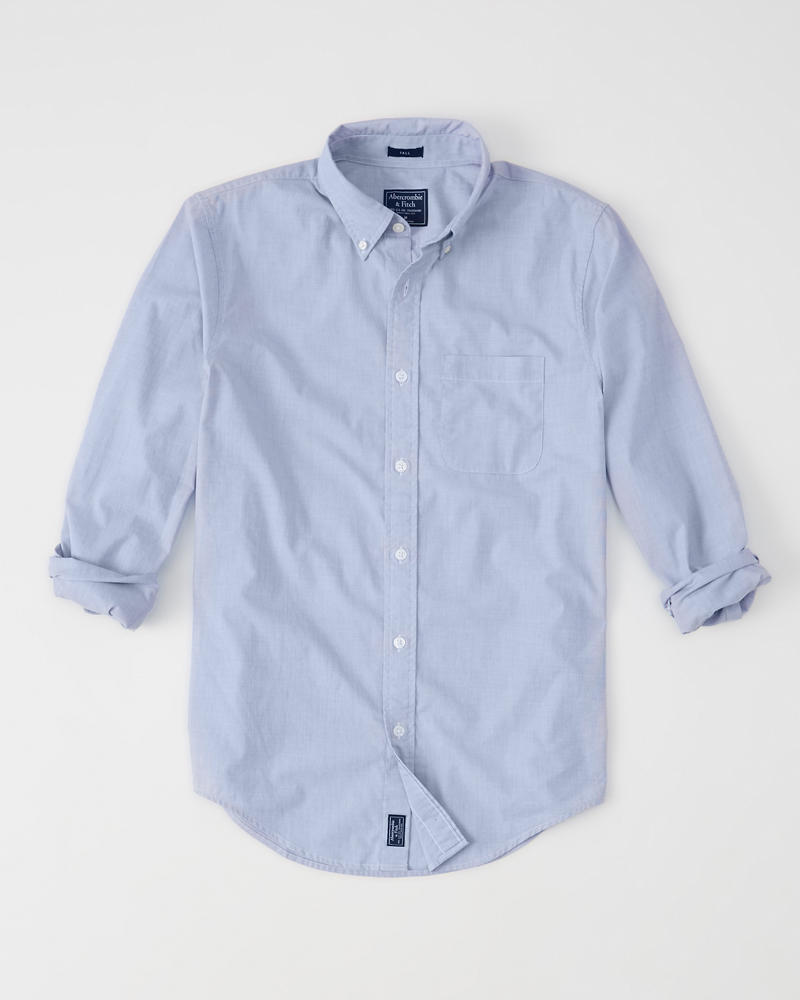 Mens Tall Fit Stretch Poplin Shirt Mens Sale Abercrombie